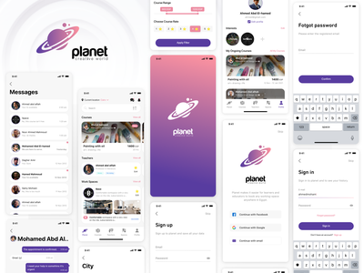 Planet space filter search education course login chat app mobile app ui ux sketch