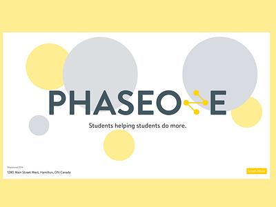 PhaseOne | Logo, Tagline & Splash brand identity student organization students vector ideation branding logo design