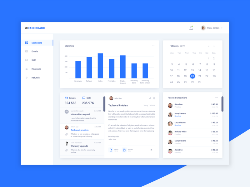 Email & SMS management Dashboatd ui  ux ui dashboard