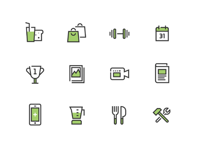 Health & Fitness Icon Set health line sports nutrition diet iconography set icon fitness