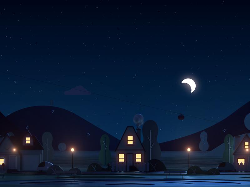 Night time mograph sleep night render 3dart 3danimation design creative direction animagic studios motion design animation