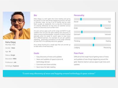 Persona Sketch Template / Persona for Discovery News App sample example user research archetype news app persona sketch template