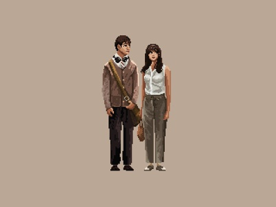 500 Days of Summer in Pixels illustration minimal digital art pixel art pixelart movie art movie 500 days of summer