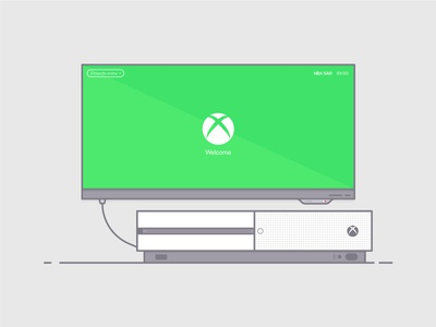 Xbox One S illustration interface software tv screen monitor console ui s green gradient gaming