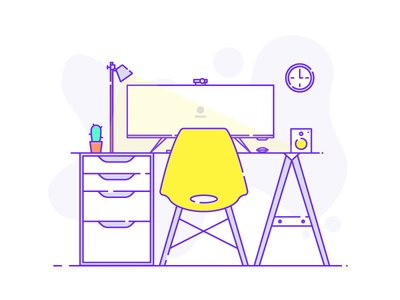 Workspace workplace clock monitor widescreen speaker chair line illustration flat cactus light desk