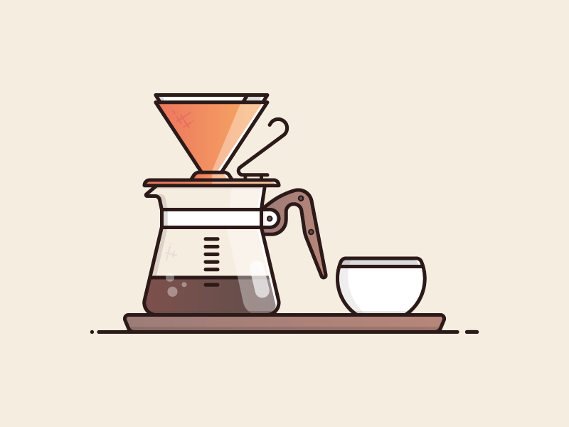 v60 Drip Coffee! filter illustration cafe drink hot flask mug brew hario beans coffee