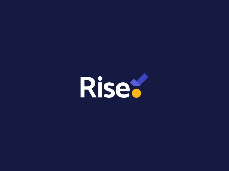 Rise Logo check tick award winning silver bronze gold trace achievement tracking medal award mark identity branding icon logo