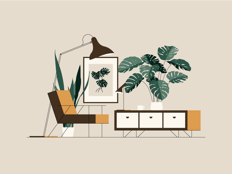 Studying (2/4) illustration interior decor home living room coffee greenery print lamo furniture scandi seat chair armchair leaves plant