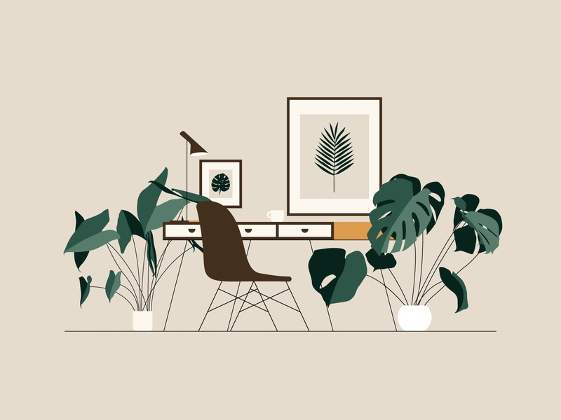 Working (3/4) interior decor furniture art coffee workspace office pot greenery leaves monstera plant scandi seat chair desk