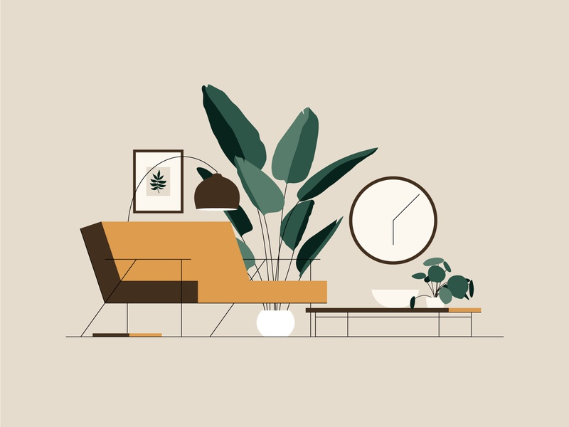 Lounging (4/4) home seat decor interior art print coffee table greenery leaves plant clock illustration couch sofa