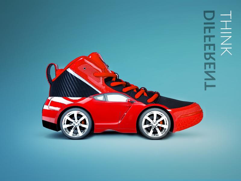 Sport shoe car sports car digital art image manipulation