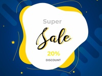 Super Sale Banner With Modern Shapes
