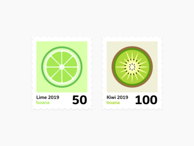 Healthy, green and bold fruit stamps