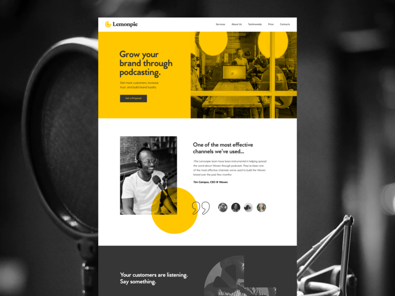 Lemonpie Webdesign unfold layouts podcasting podcast lemon web design typography ui design branding rebrand website concept app