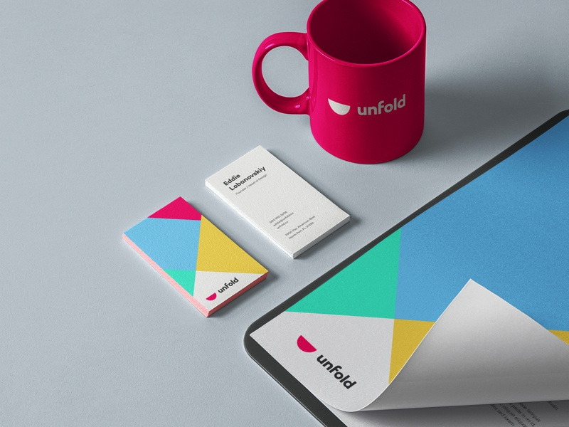 Unfold Branding design clean mark logo typography cards business cards mockup logo design stationary design unfold brand agency brand identity branding