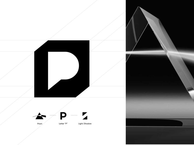 Logo Mark cube 3d unfold black and white branding light prism letter p digital agency concept logo design logo mark logo mark