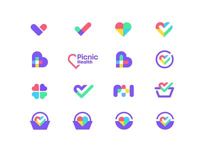 Logo mark exploration colorful concept exploration care healthcare medical app medical logo branding icon symbol mark logomark logo