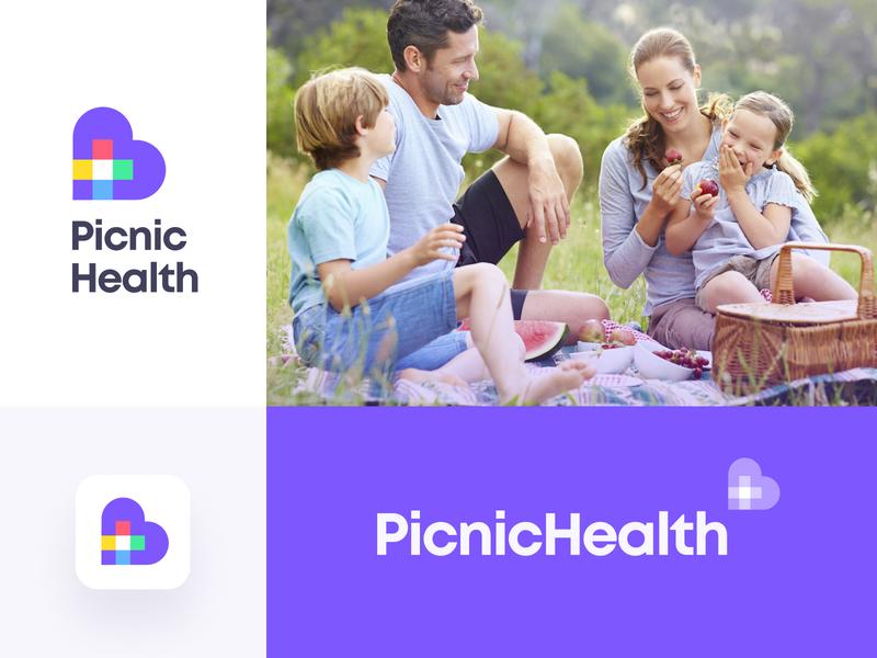 Logo Concept family typography colorful health care medical health picnic unfold logotype brand identity branding icon mark logo design logo concept logo