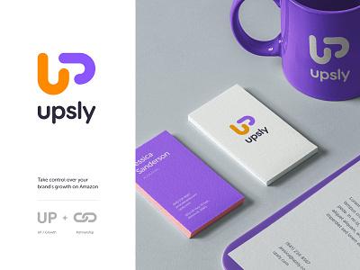 Upsly logo concept visual identity exploration amazon partnership up unfold clean identity logotype logo logo design typography mark branding