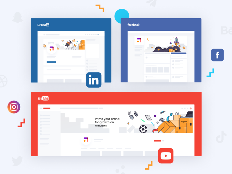 Upsly social media case study logo brand illustration unfold illustration presentation design layout design ui icons branding upsly design media social network social media