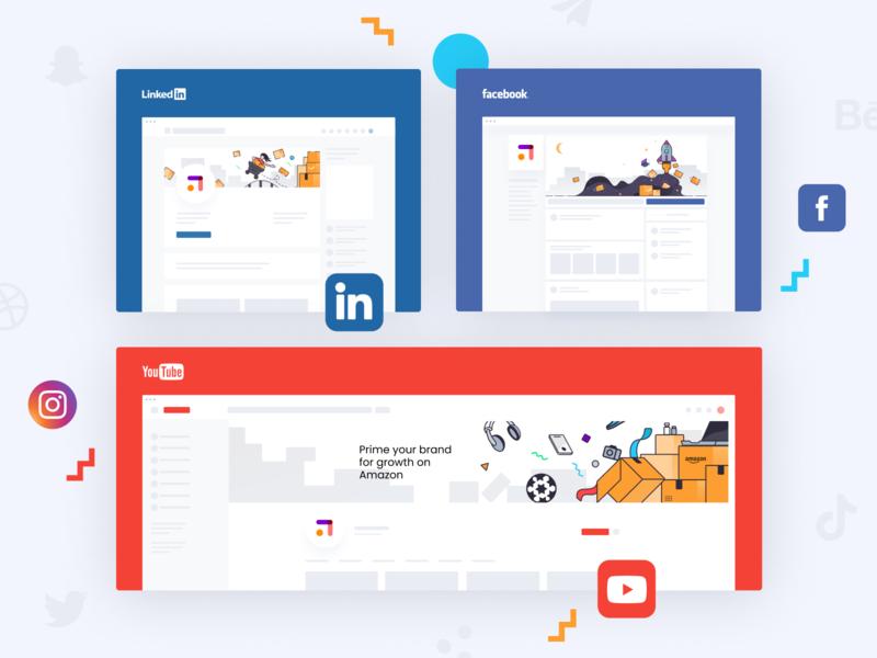 Upsly social media case study logo brand illustration unfold illustration presentation design layout design ui icons branding upsly design media social network social media