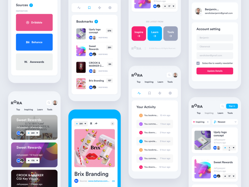Rora Mobile v2 layout tricks tips sort product design newsfeed designer community news trend tools learn unfold rora feed app mobile ui mobile design