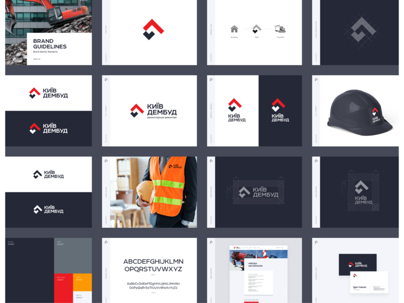 KievDemBud - Brand Guidelines buildings construction demolition typography design style guide identity system manual color palette brand identity brand guide brandbook mark logotype logo design unfold brand guidelines typography rebrand branding