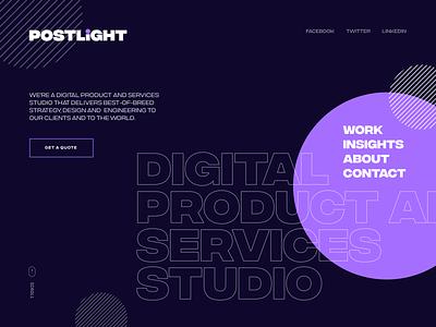 Postlight Web Concept agency type typography design website design light postlight unfold ui  ux branding landing landing page web design