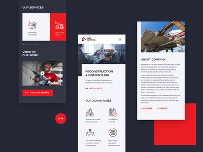 Mobile screen / KyivDemBud red reconstruction design unfold page layout dismantling construction demolition layout design web design typography ui  ux mobile ui mobile design