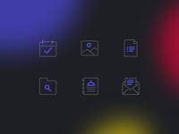 Icon Style Exploration vector design unfold line icons thin dark gradient style identity symbol illustration icon set iconography icon