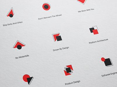 Postlight icon set logo mark black red agency branding agency identity concept postlight illustration unfold symbol branding iconography icon set icon