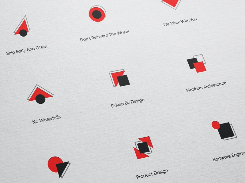 Postlight icon set logo mark black red agency branding agency identity concept postlight illustration unfold symbol branding iconography icon set icon