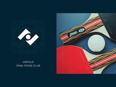 Ping-pong logo design icon symbol mark unfold game paddle rackets table tennis tennis ping pong logo concept fun branding logo