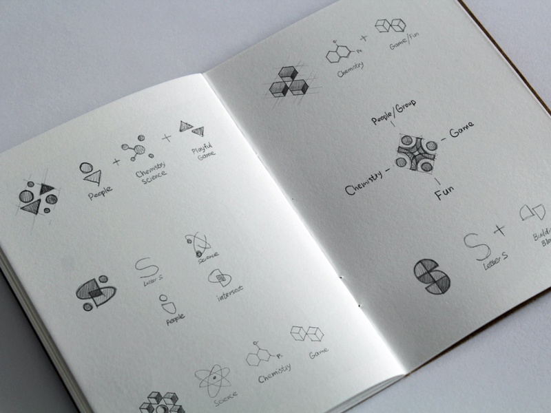 Substrate sketches mark design logo concepts agency drawing process unfold branding sketchbook education chemistry science logo exploration logo design sketching sketches