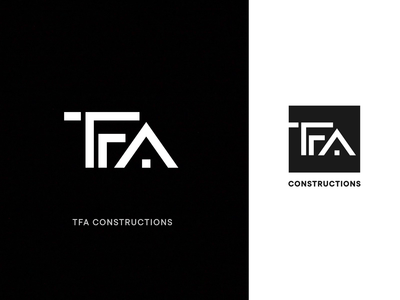 TFA Construction Logo Concept identity type icon unfold design building layout logo design mark branding typography construction logo logo concept logo