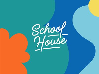 School House Logo concept illustration script colors school logo education school house texture pattern brand logotype type identity design branding logo concept logo design