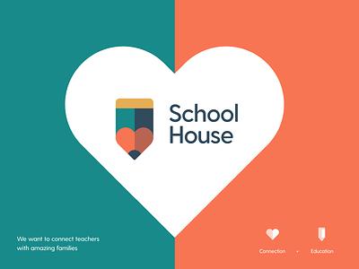 School House Logo concept illustration teachers pencil heart connection logo concept school house identity logotype brand education school school logo logo design