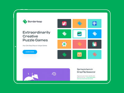 Borderleap web concept clean creative hero section puzzle puzzle game borderleap gaming game branding illustrations landing page ui unfold typography design web design