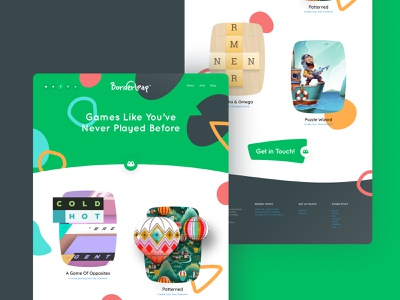 Borderleap web concept layout design branding green fresh design gaming illustrations ui  ux unfold puzzle game creative borderleap landing page web design