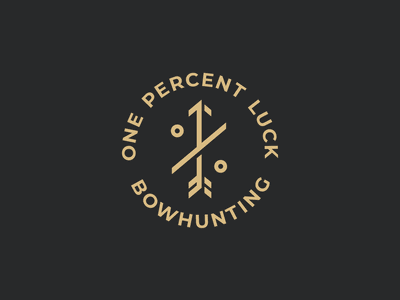 One percent luck logo luck percent logo designer podcast logo logo badge mark identity icon hunting bowhunting arrow archery branding logo