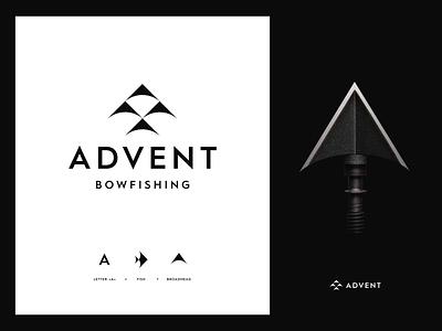 Archery logo concept unfold black and white bowhunting hunting bowfishing logotype mark identity typography branding logo design broadhead arrow archery