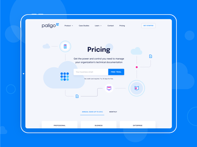 Hero section for pricing page landing page paligo unfold illustration doc documentation documents organize ux ui hero section website cloud pricing page web design