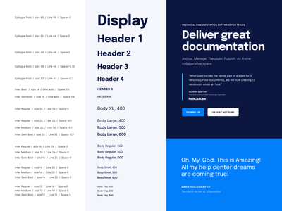Typography doc documentation unfold template layout styleguide guide brandbook brand guidelines branding system type hierarchy typography