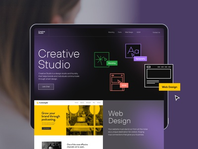 Web Design icons illustration layout design yellow dark exploration ui  ux typography branding digital agency agency studio creative design web design