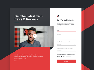 Subscription page youtube subscribe form contact form template ui design marketing website unfold marques convertkit subscription web templates page web design