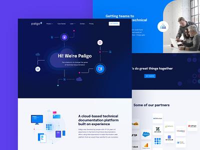 Paligo web design website technical design documentation documents organize landing page ui  ux cloud web design unfold paligo illustrations