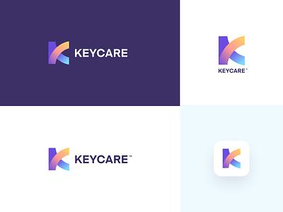 Logo concept illustration letter k health cancer care keycare icon design app logo unfold mark identity design branding logo design