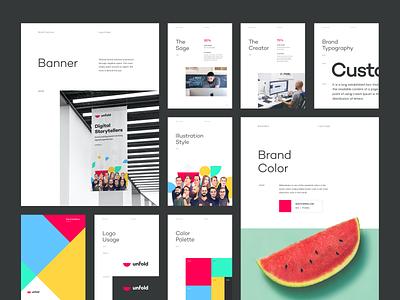 Unfold Brandbook v1.0 exploration visual brand digital agency guide layout design illustration logo design typography unfold brand guideline brandbook branding