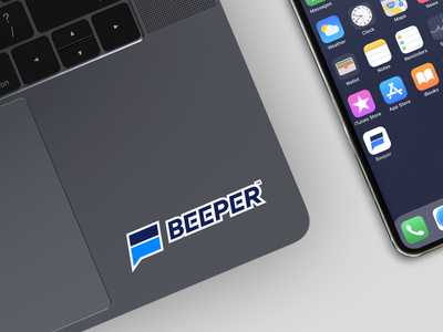 Beeper Logo Concept mockup social connect messenger forward chat app logo beeper logotype unfold typography identity branding mark logo design