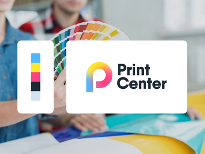 Print Center gradient logo gradient color palette fresh colors design company logo concept design print service logotype print center print mark branding logo design